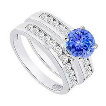 Tanzanite & Diamond Engagement Ring with Wedding Band Sets 14K White Gold  1.15 CT TGW