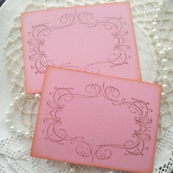 Wedding Event and Party Place Cards Food Buffet Label Tags Pink Set of 10