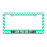 Volleyball Can You Dig It - Sports - License Plate Tag Frame - Teal Chevrons Design