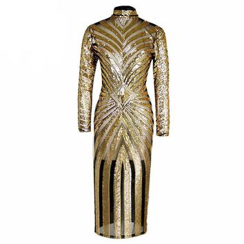 2 Colors Sequined Striped Maxi Mesh Semi Sheer Insert Bodycon Dress Long Sleeve Sexy Turtleneck Spring Women Clubwear