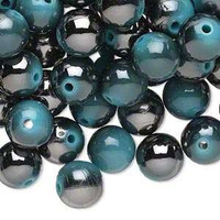 10mm Highlighted Opaque Acrylic Beads Rounds Country Blue Spectacular Hue Lot of 10 Unique