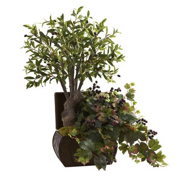 Artificial Plant -Olive Tree And Grape Leaf With Chest
