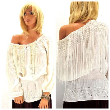Boho white fringed blouse size M, prairie gypsy lace smocked top, fringed lace embroidered off the shoulder festival top, SunnyBohoVintage