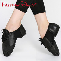 Genuine Leather Center Stretch Jazz Dance Shoes Lace-Up Ballet Jazz Dancing Sneakers For Men And Women Black Free Shipping