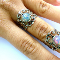 Opal Midi Ring Knuckle Wrap Silver Plated Brass Finger Cuff Jewelry Faux Fire Blue Pink