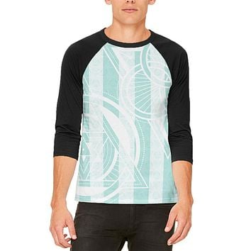 Summer Sacred Geometry Teal Stripes Mens Raglan T Shirt
