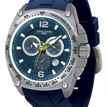 Jorg Gray JG8400-21 Men's Watch Chronograph Blue Rubber Strap