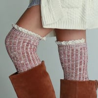 Over the Knee Ribbed Lace Trimmed Socks - Red, Black or Oatmeal