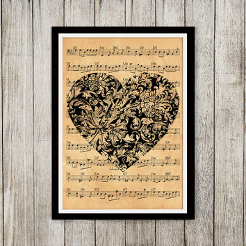 Aged poster Heart print Old paper print Note sheet decor NP017