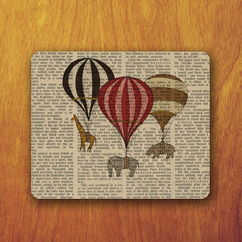 Elephant Giraffe Hippo Painting Mouse Pad Old Newspaper Pattern Art Animal Mousepad Vintage Office Desk Decoration Gift Teacher Gift