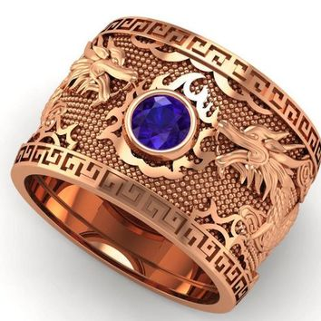Sapphire Dragon Rose Gold Wide Band Mens Ring Blue Ring Gift for Man Large Engraved Heavy Ring Unique Ring Engagement Ring Wedding Ring