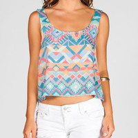 Full Tilt Ethnic Print Womens Button Back Tank Multi  In Sizes