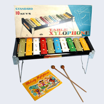 Taiyo Concert Table Xylophone 7510 Standard 10 Key Tin Xylophone Childrens Vintage Toy Musical Instrument Wooden Mallets Song Book Japan