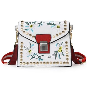 Dahlia Embroidery Flower Leather Crossbody Bag