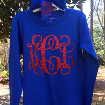 Long Sleeve Glitter Monogram T Shirt Matching Monogrammed Hair Bow Monogrammed gifts, Bridesmaids,Women, Girls, Teens