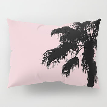 Palm Tree Silhouettes On Pink Pillow Sham by ARTbyJWP