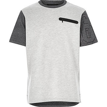River Island Boys grey contrast sleeve zip pocket t-shirt