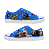 The Walking Dead Zombie woman canvas shoes - Size : US 9 EUR 40 Blue