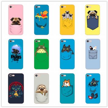 2017 Cartoon stitch Totoro Sloth Pug pooh Phone Case For Apple iPhone 6 6S 5 5S 5C SE 6 6Plus 7 7Plus hard plastic shell