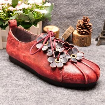 Retro Lace Up Handmade Flower Soft Leather Flat Casual Shoes