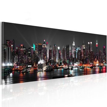 ( No Frame )  NEW YORK SKYLINE Statue Design Canvas Print Wall Art Modern Home Decoration, Choose Color & Size