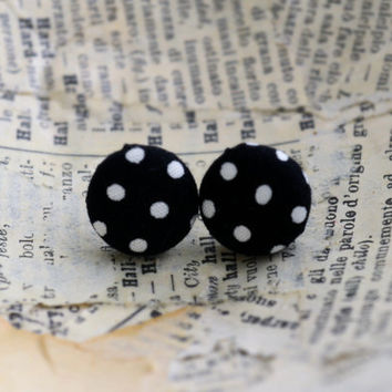 Polka Dot Fabric Button Earrings, Black and Purple Button Earrings, Button Earrings, Black and Purple Party Favor, Birthday Gift