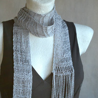Grey Skinny Scarf, Stylish Cotton Scarf, Fringe scarf, Knit Jewerly, Vegan Scarf, Loose Knit Scarf, Spring Grey Pearl Scarf Gift for Her