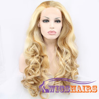 """24"""" Long Curly without Bangs Synthetic Wigs for Women Lace Front Wigs Blonde"""