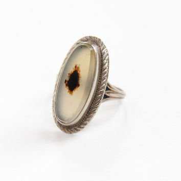 Vintage Sterling Silver White & Brown Moss Agate Ring - 1940s Size 7 3/4 Clear, Dark Brown Dotted Oblong Oval Stone Jewelry