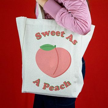 Sweet as a Peach Canvas Tote Bag