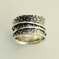 Sterling silver spinners on a filigree wide band - A way of life 2.