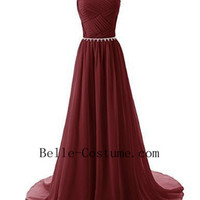 Wine Red Prom Dresses 2016, Elegant Evening Dresses, Bridesmaid Dresses