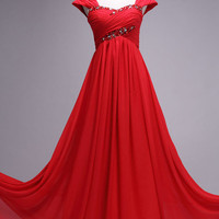 2012 Spring Style Sheath / Column Paillette Sleeveless Floor-length Chiffon Prom Dresses / Evening Dresses