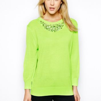 Ted Baker Sweater with Embellishment - Pale green