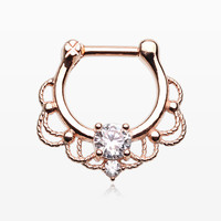Rose Gold Turan Sparkle Septum Clicker Ring