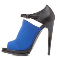 Qupid Stretchy Color Block Peep Toe Heels