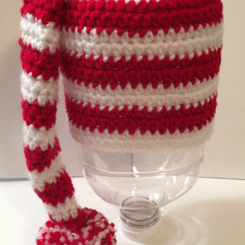 Santa - Stocking - Elf - Striped Hat - Any Size or Color Combo