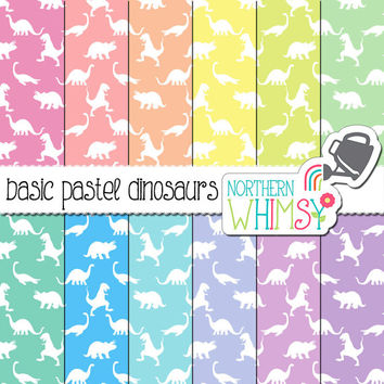 Baby Digital Paper - pastel dinosaur seamless patterns in pink, peach, yellow, mint, blue & lavender - baby scrapbook paper - commercial use