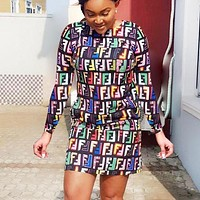 Fendi Fashion New Multicolor More Letter Print Leisure Long Sleeve Dress Women Coffee