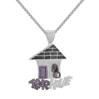 Multi Color Trap House Pendant Iced Out 14k White Gold Finish