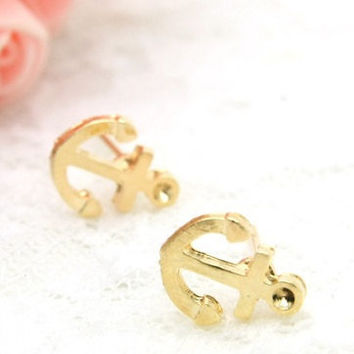 Gold anchor Earring Stud by SimplyEncharming on Etsy