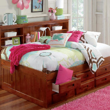 Duncan Twin Size Bookcase Captain's Bed