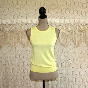 Yellow Tank Top Sleeveless Knit Top XS Womens Tops Cashmere Summer Top Yellow Top Ann Taylor Womens Clothing