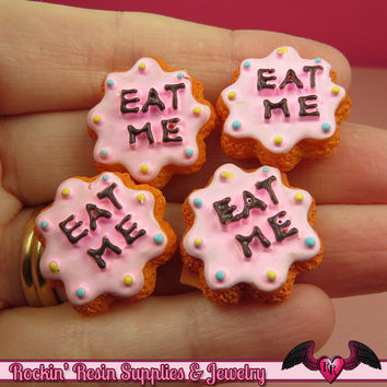 6 pieces EAT ME COOKIE Resin Kawaii Cabochons 22mm