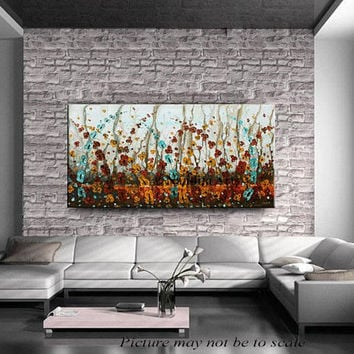 "Landscape Flower Oil Painting, 48"" Original Floral Modern Art, Contemporary Art, Red, Turquoise, Orange Painting on Canvas Wall Art Decor"