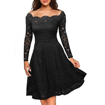 Black Long Sleeve Knee Length Lace Dress