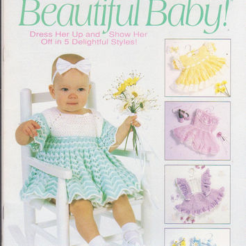 Beautiful Baby crochet pattern booklet with 5 lacy crochet special occasion dresses for child size 1 2 3 intermediate to advanced 3 ply yarn
