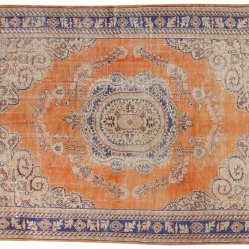 7.5x10 Vintage Distressed Oushak Carpet