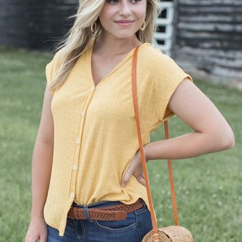 Dolman Button Up Top, Mustard