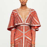 Missguided - Peace + Love Orange Kimono Embellished Dress